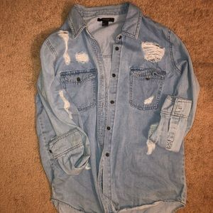 Forever 21 Jean Button Up